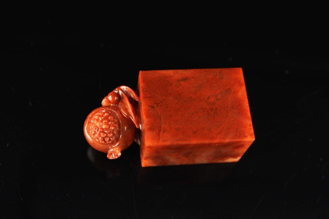 Shou-Shan Stone Carved with a Pomegranate Button Seal - 4