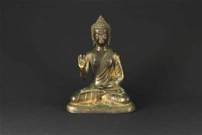 Gilt Copper Alloy Figure of Buddha Qianlong Mark and