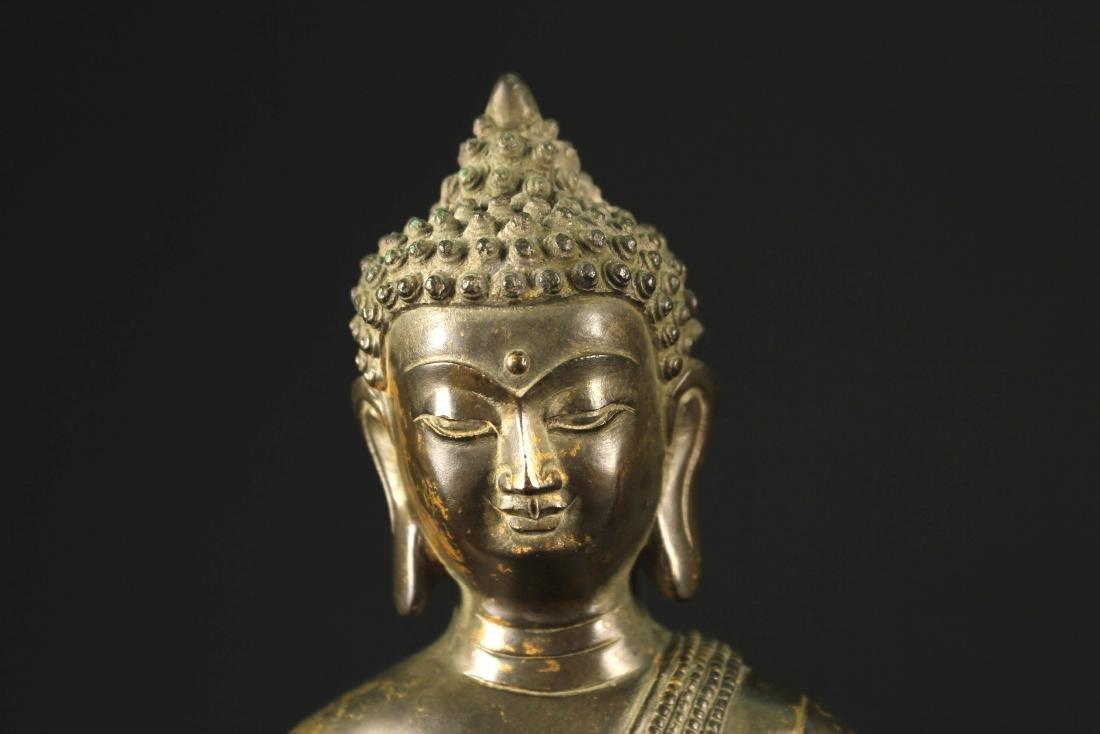 Gilt Copper Alloy Figure of Buddha Qianlong Mark and - 2