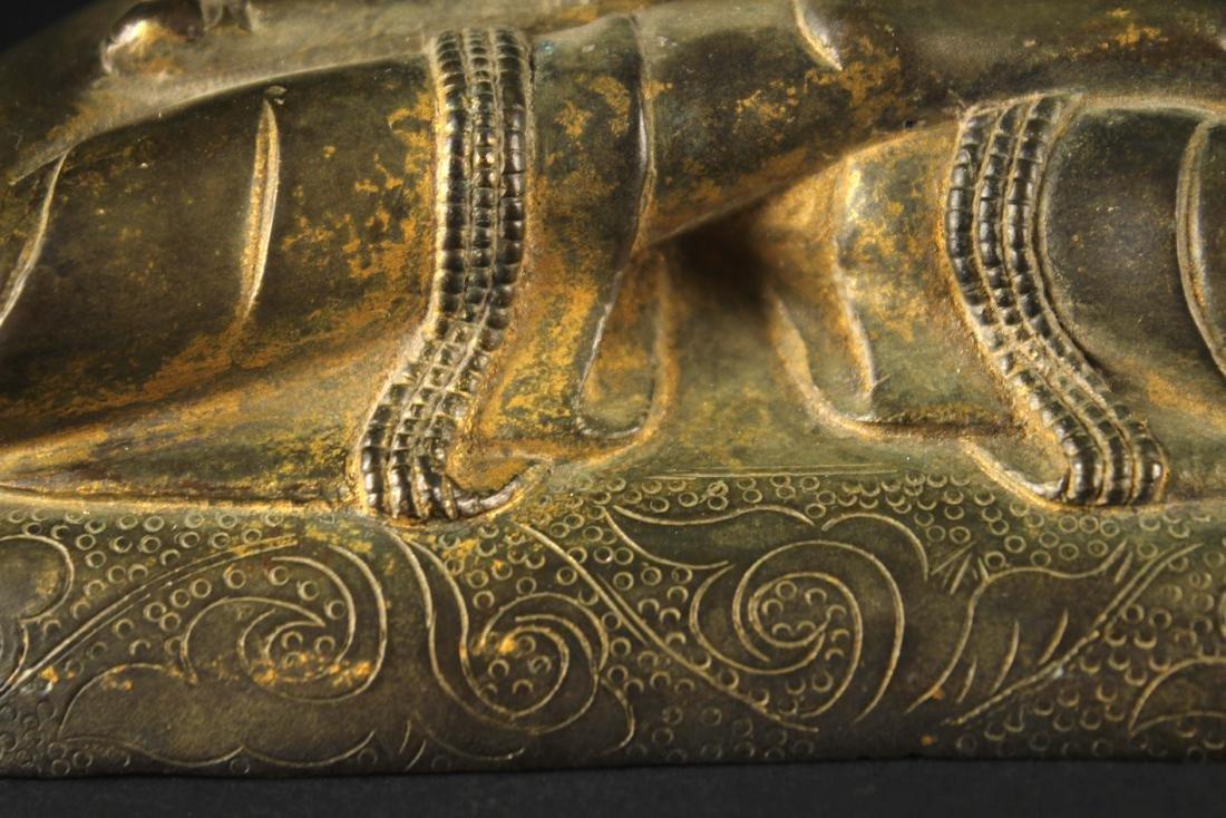 Gilt Copper Alloy Figure of Buddha Qianlong Mark and - 3
