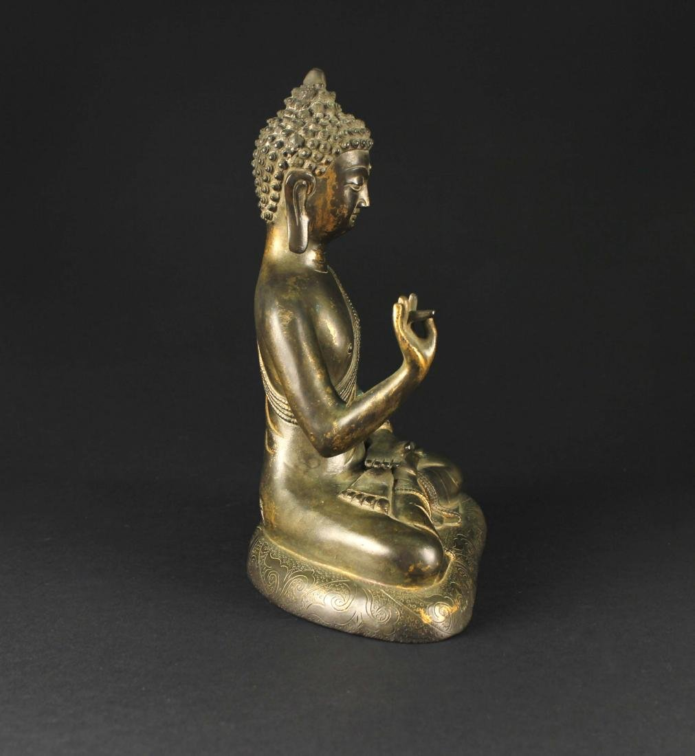Gilt Copper Alloy Figure of Buddha Qianlong Mark and - 4