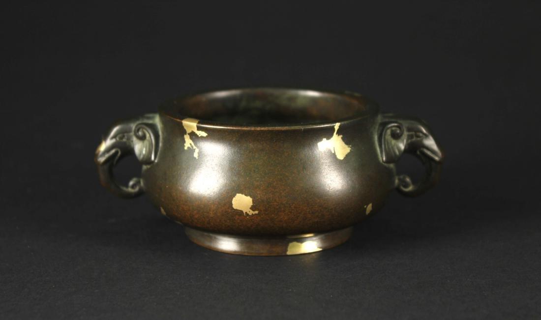 Copper Alloy Censer YuTangQingWan Mark and Qing Dynasty