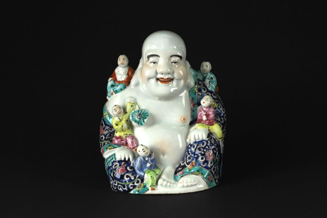 Famille Rose Figure of Buddist Arhat Republican Period