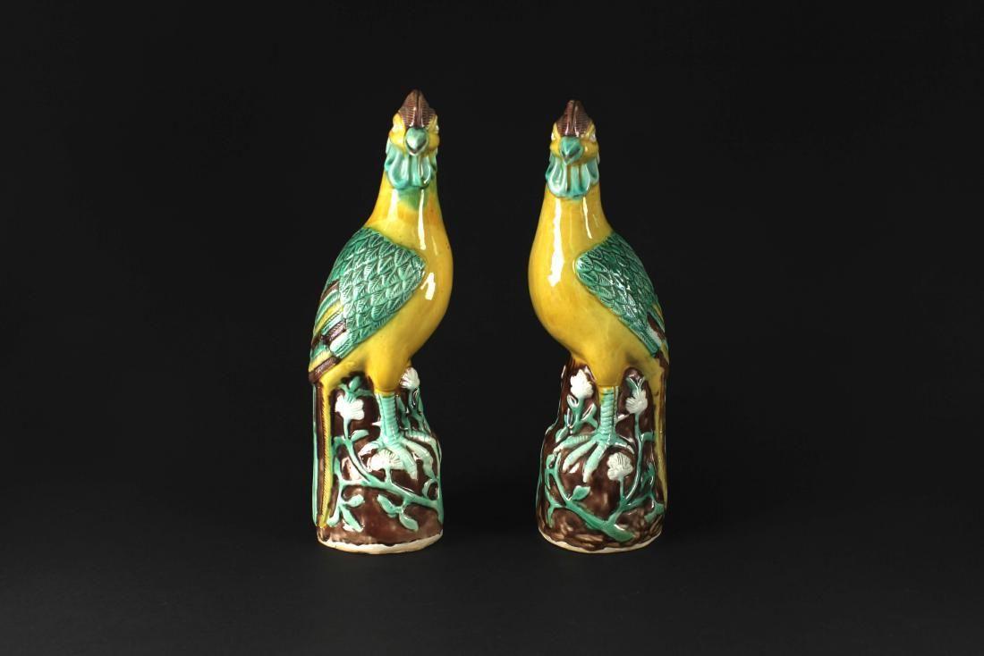Pair of the Coloredporcelain Figure Golden Pheasant