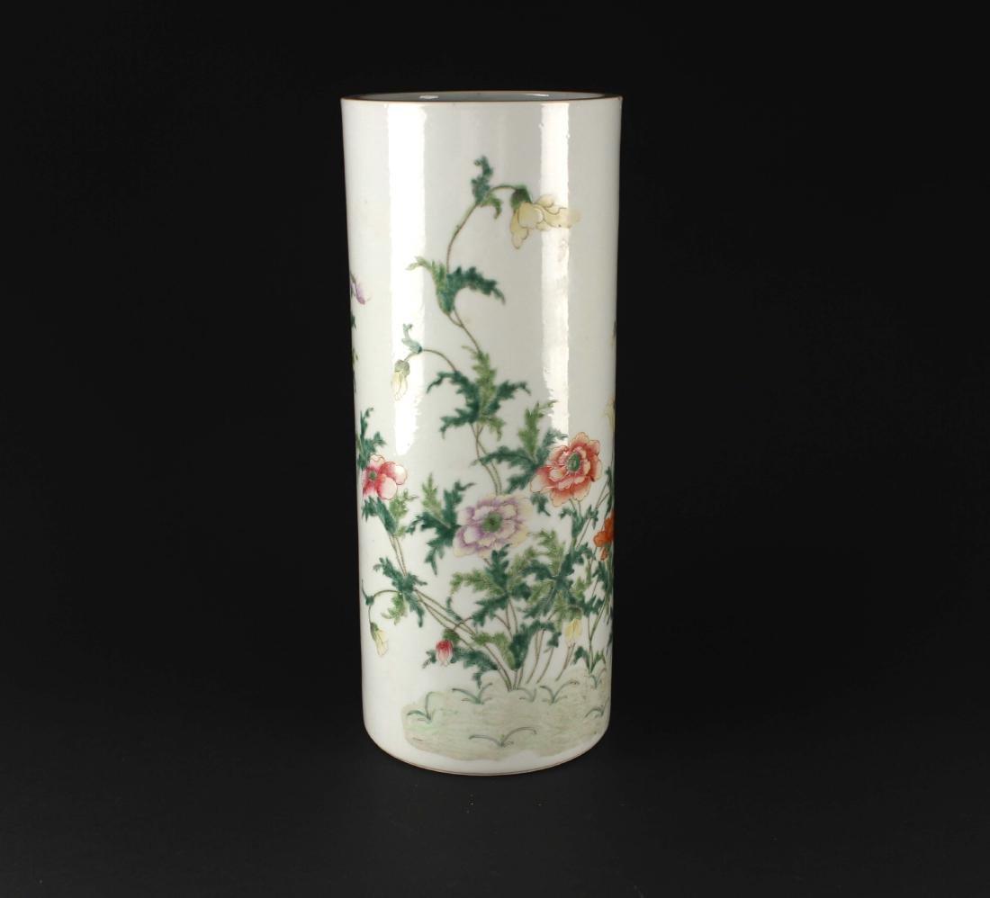 Famille Rose Flowers Vase Hongxian Mark Republican