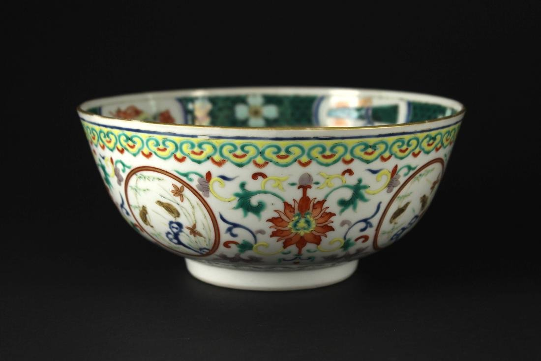 Wu-Cai Gilt Flowers&Birds Bowl Middle of the Qing