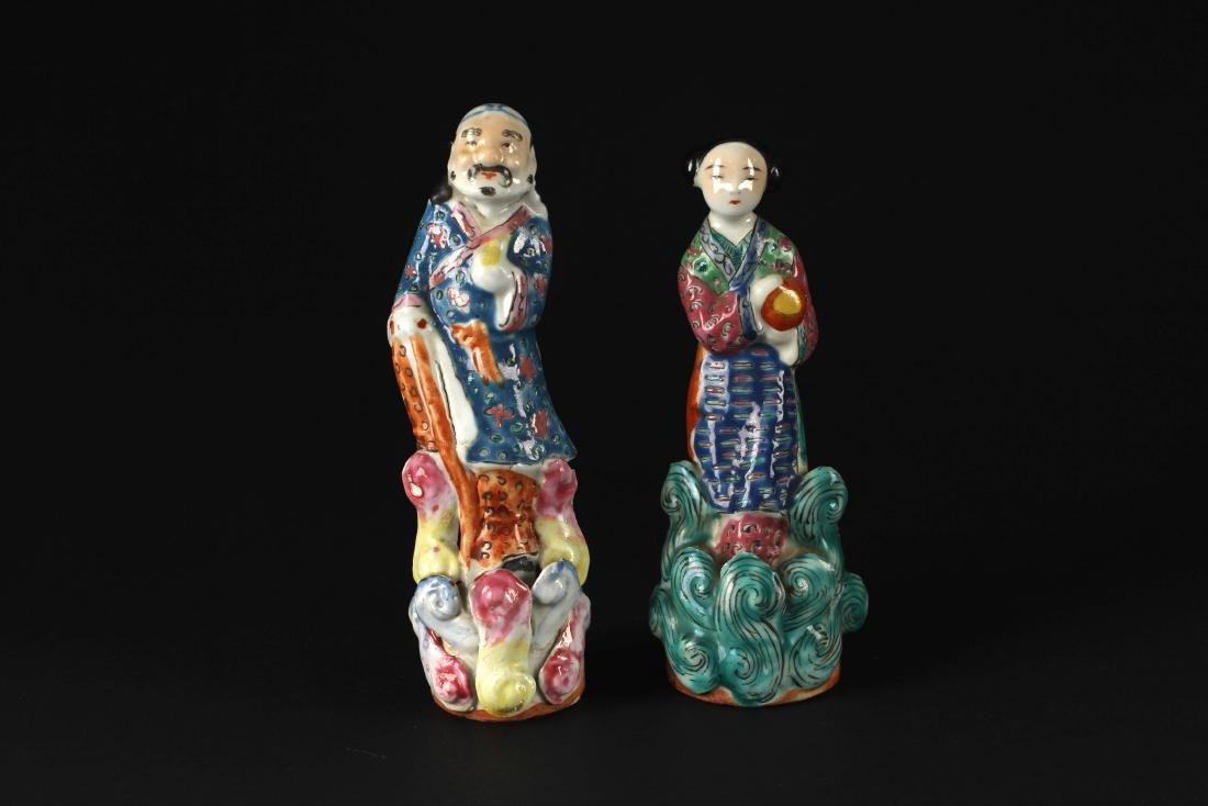 Two Piece of Famille Rose Porcelian Figure Republican