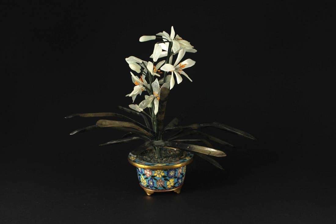 Export Cloisonne Pot and Jade&Agate Flower Decoration