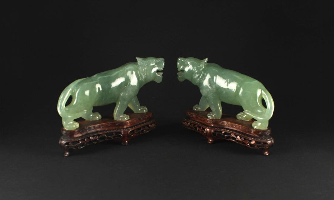 Pair of Hsiuyen Jade Carved with Tiger Decoration