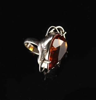 925 Silver Inlay Amber Ring