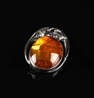 926 Silver Inlay Amber Brooch