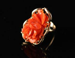 14K Gold Inlay Coral Ring