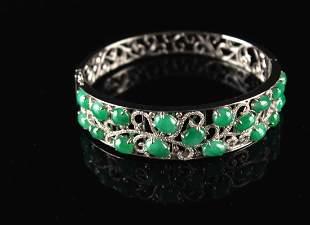 18K Platinum Inlay High Quality Jadeite Bangle