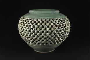 Krean Celadon Hollowed-out Work Vase 20th Century