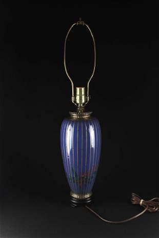 Japanese Blue Glaze Vase Seat Lamp Meiji Period