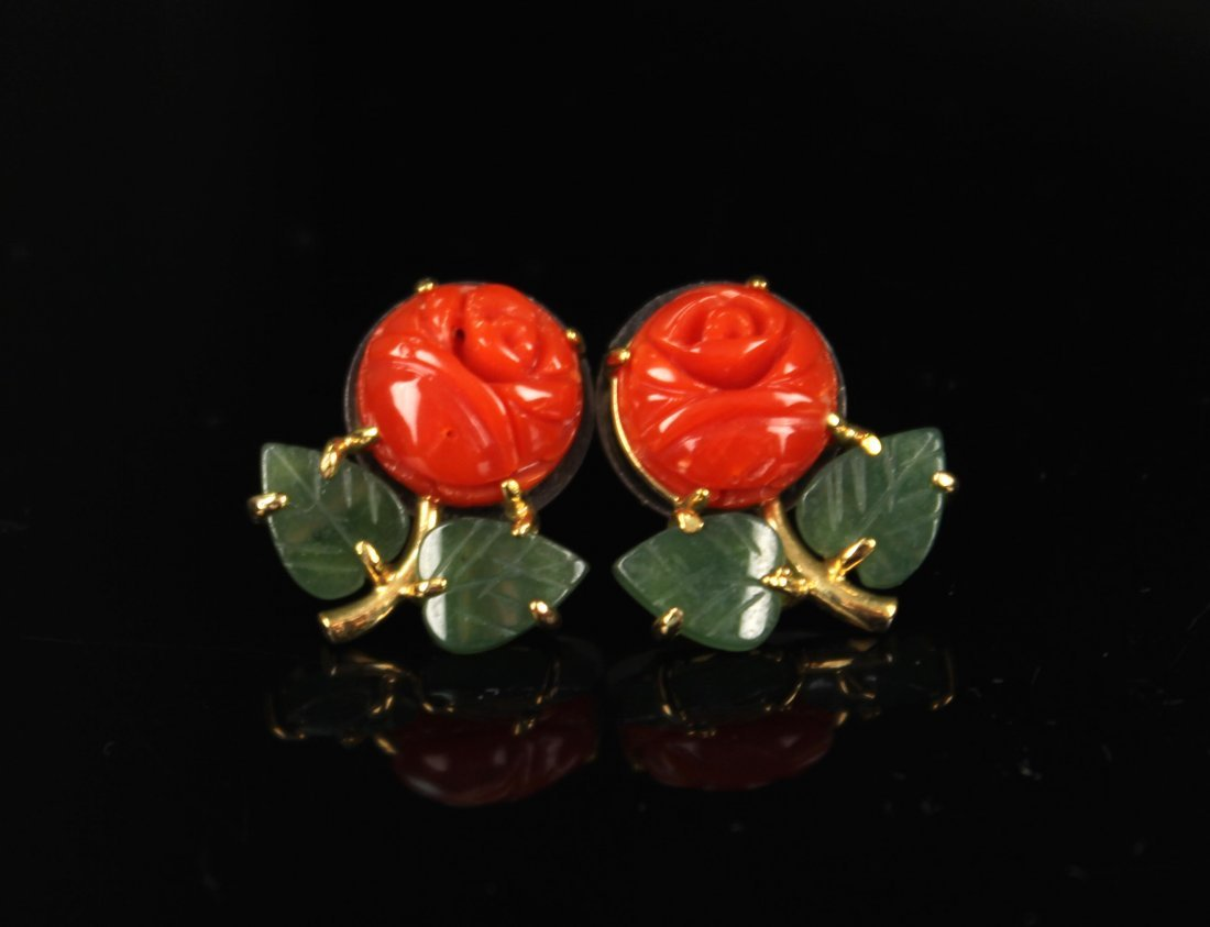 Pair of AKA Red Coral and Green Jade Earring