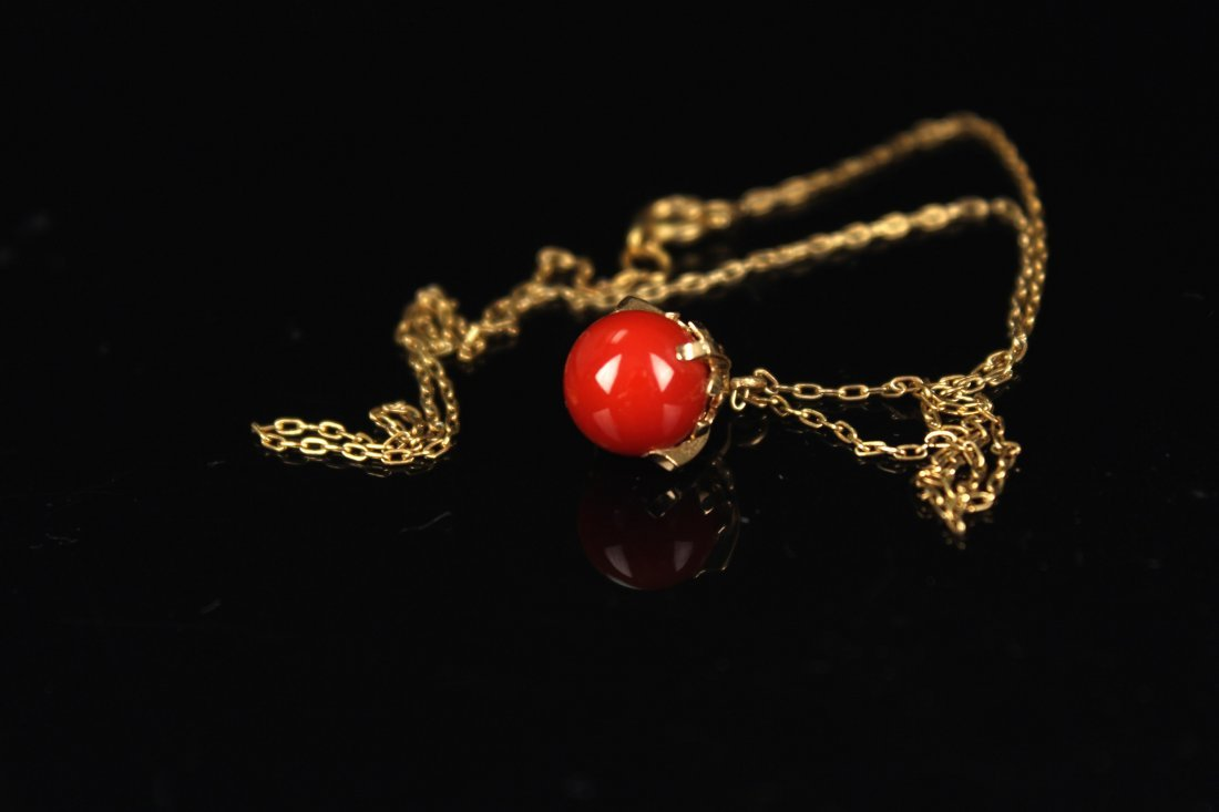 !0K Gold Inlay AKA Red Coral Pendant Necklace