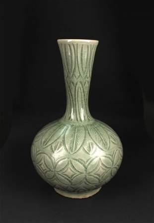 Korean Copy Yaozhou Kiln Celadon Glaze Bottle Vase 19th