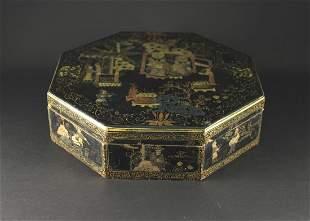Lacquerware Octagon Box Jixiantang Mark Qing Dynasty