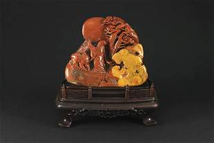 Shou Shan Stone Carved with a Scholar Decoration