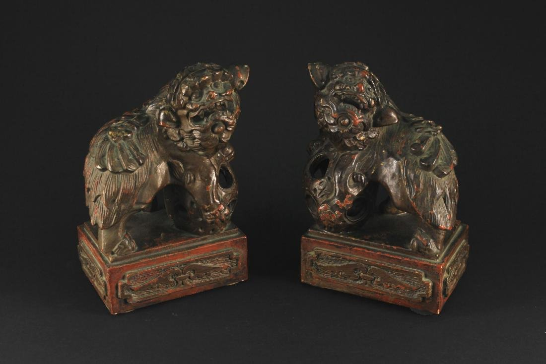 Pair of Zi Sha Lion Sculpture Decoration Qing Dynasty