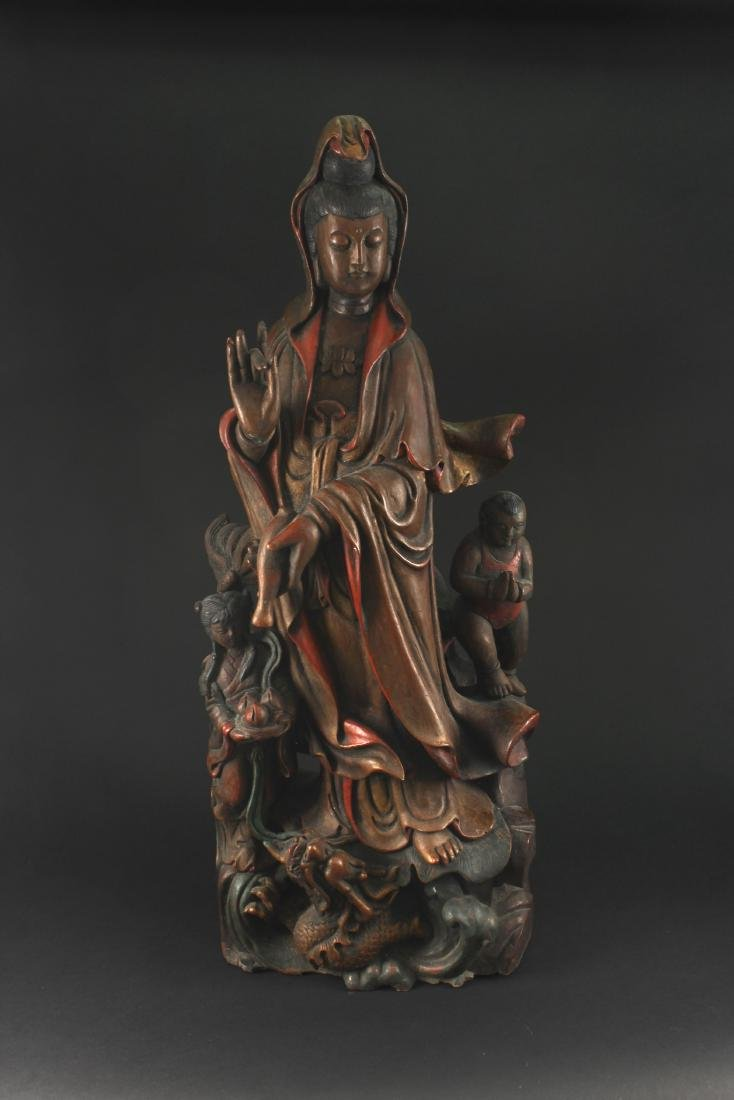 Lacquerware  Wood Carving Guanyin Statue Qing Dynasty
