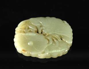 Green&white Jade Carved with Lotus Pendant
