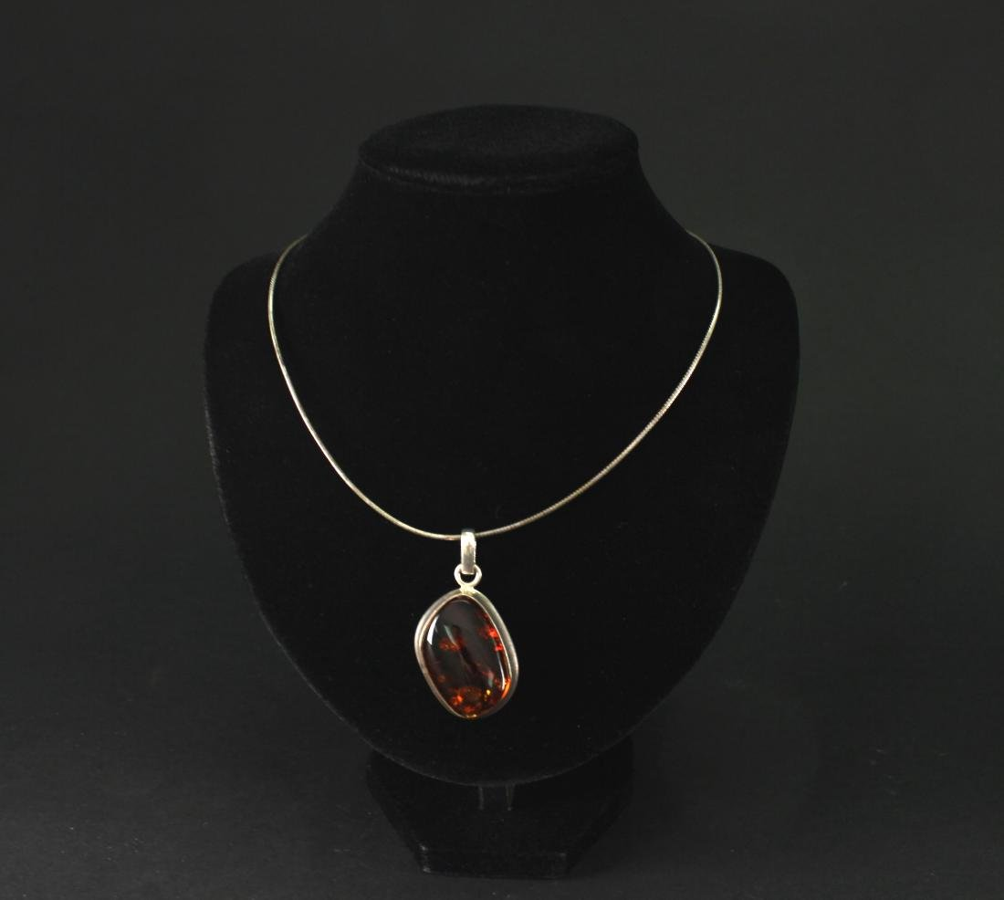 Silver Inlay with Amber Pendant Necklace