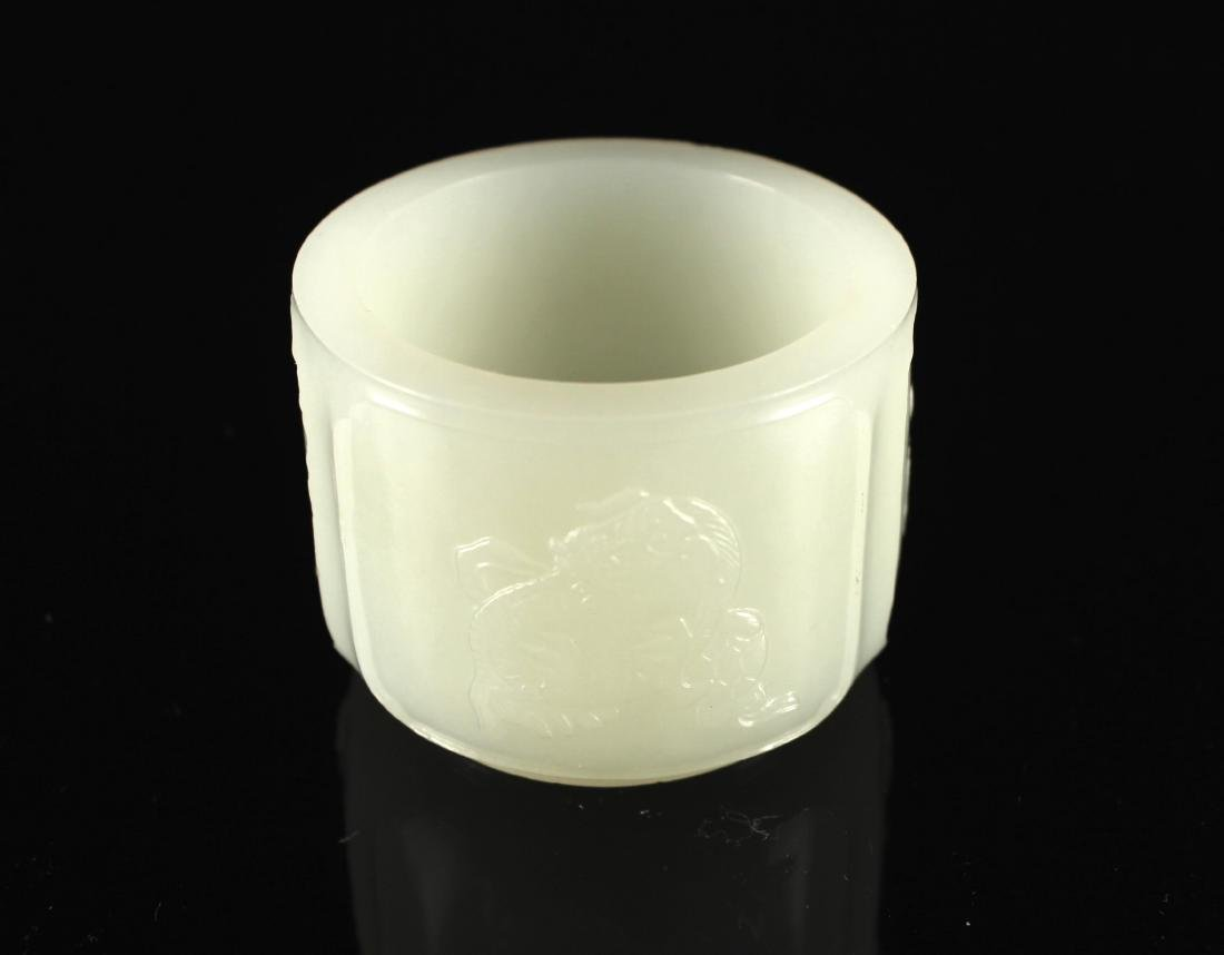 Hetian White Jade Carved with Cup Qing Dynasty