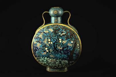 Cloisonne Moon-shaped Flask Qing Qianlong Period