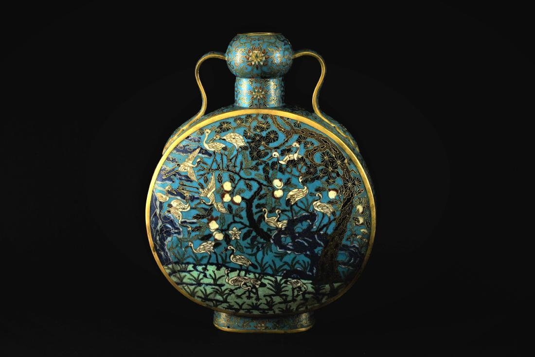 Cloisonne Moon-shaped Flask Qing Qianlong Period