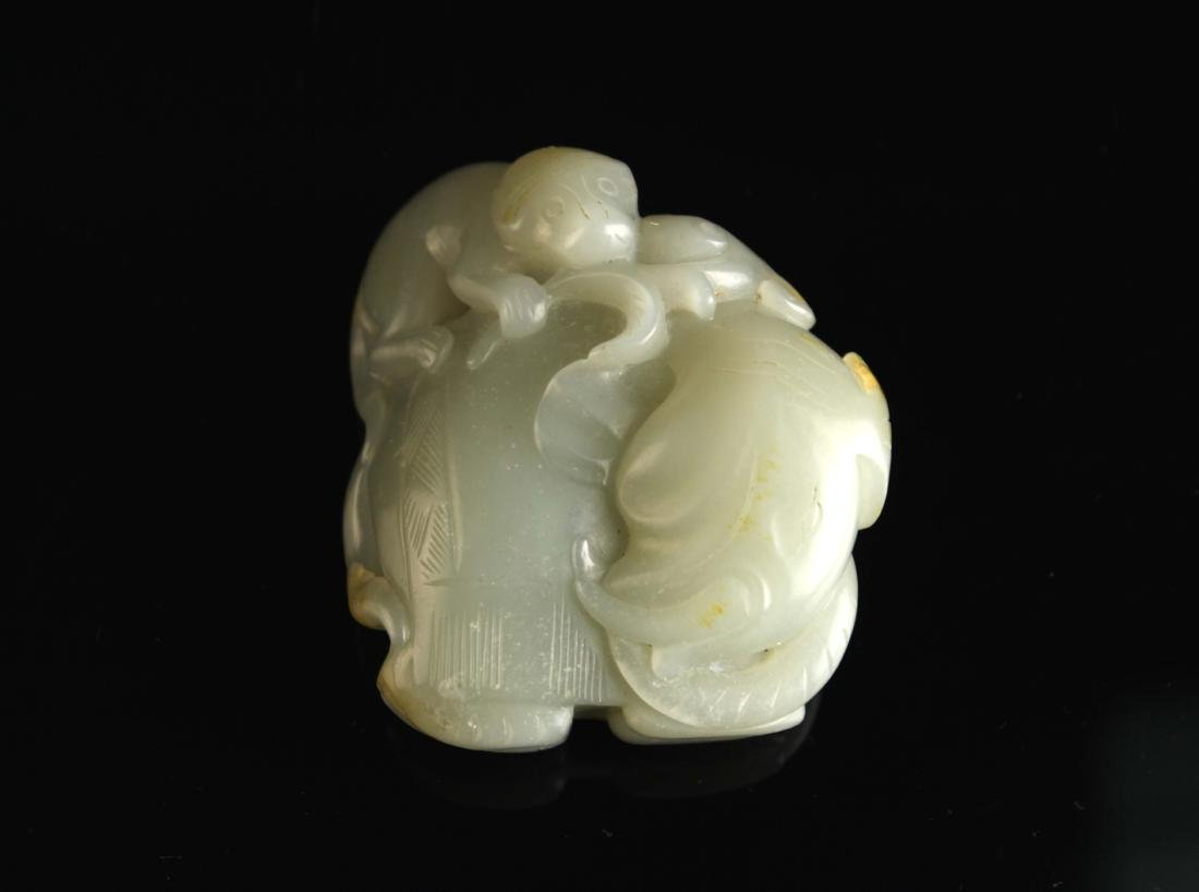 Green&White Jade Carved with Elephant and Monkey