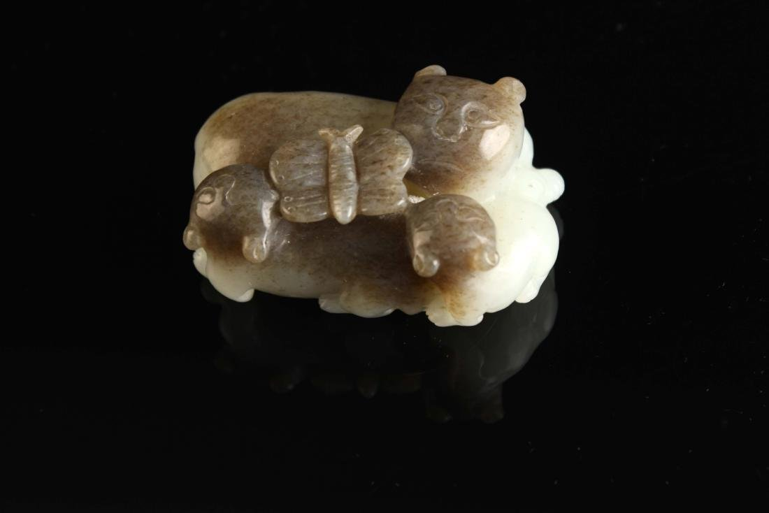 White Jade Carved with Cats and butterfly Pendant