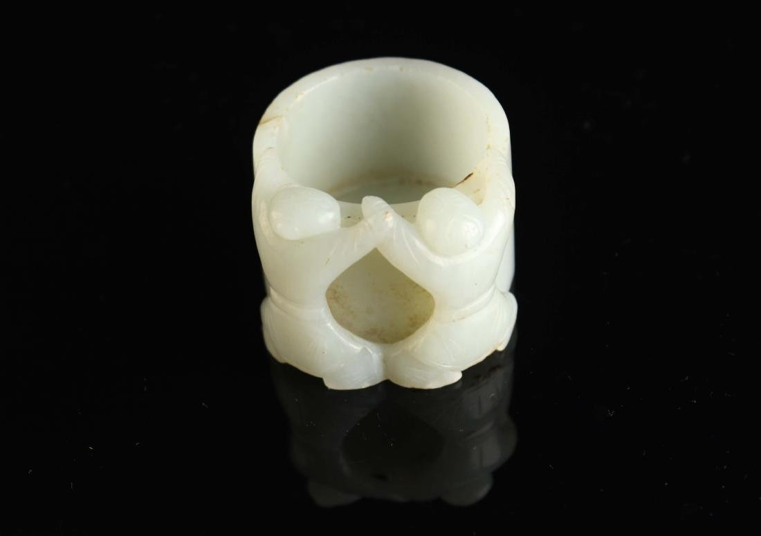 White Jade Carved with Hop Immortals Cup