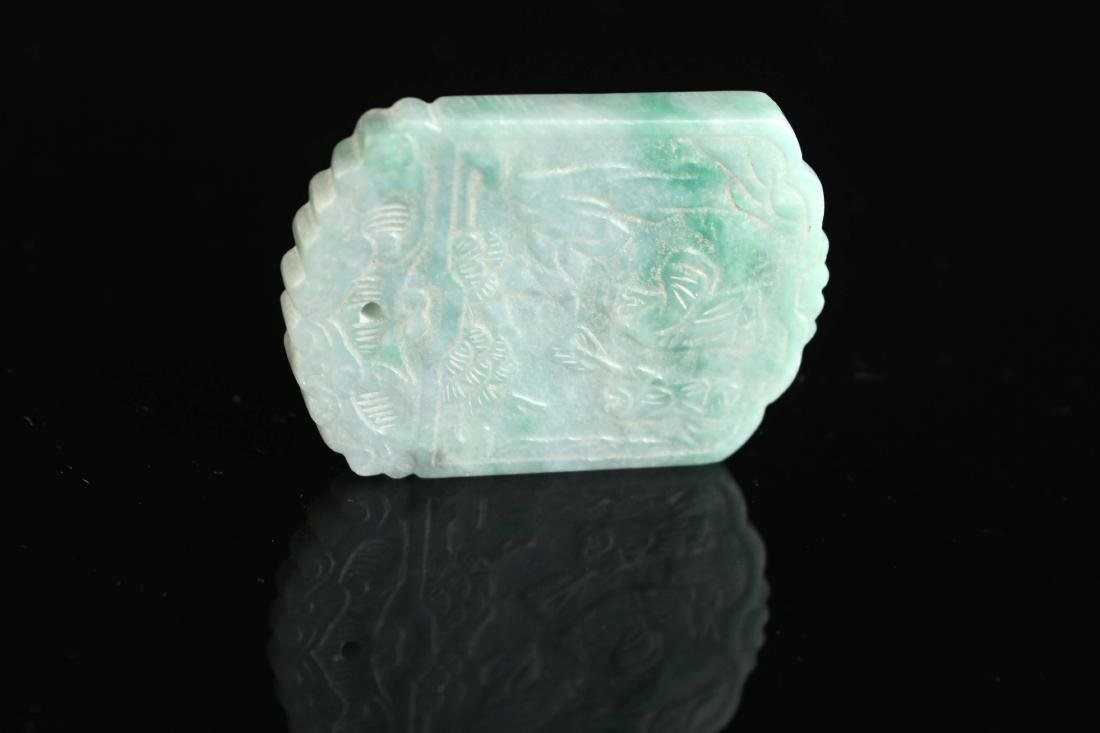 Jadeite Carved with Poetry and Story Pendant