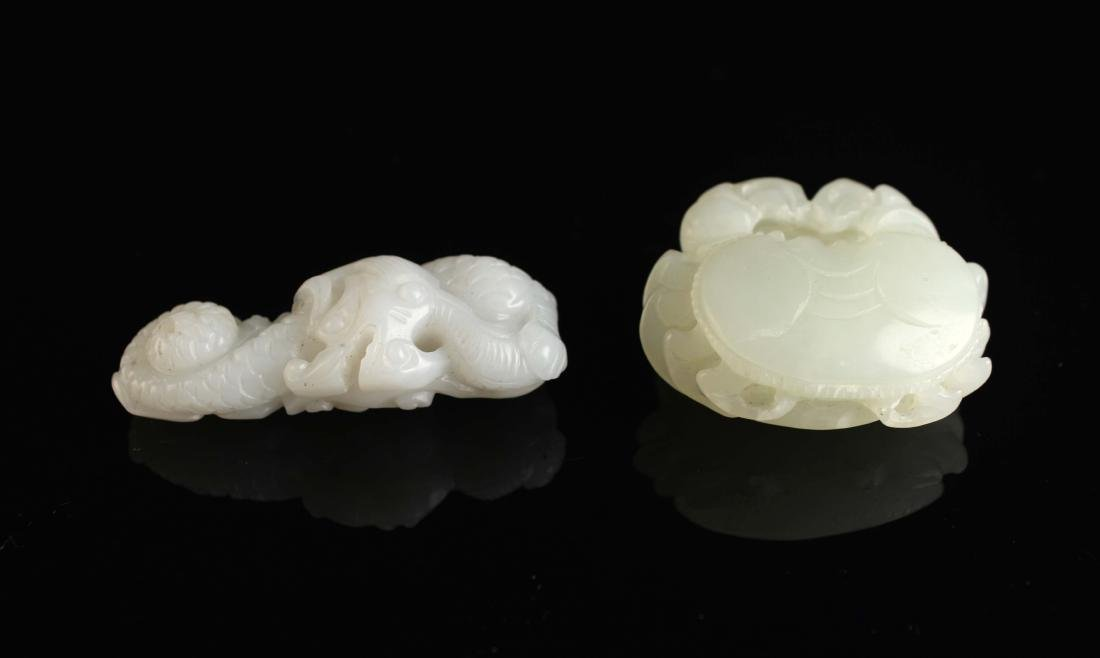 Two-Piece White Jade Carved with Dragon and Crab