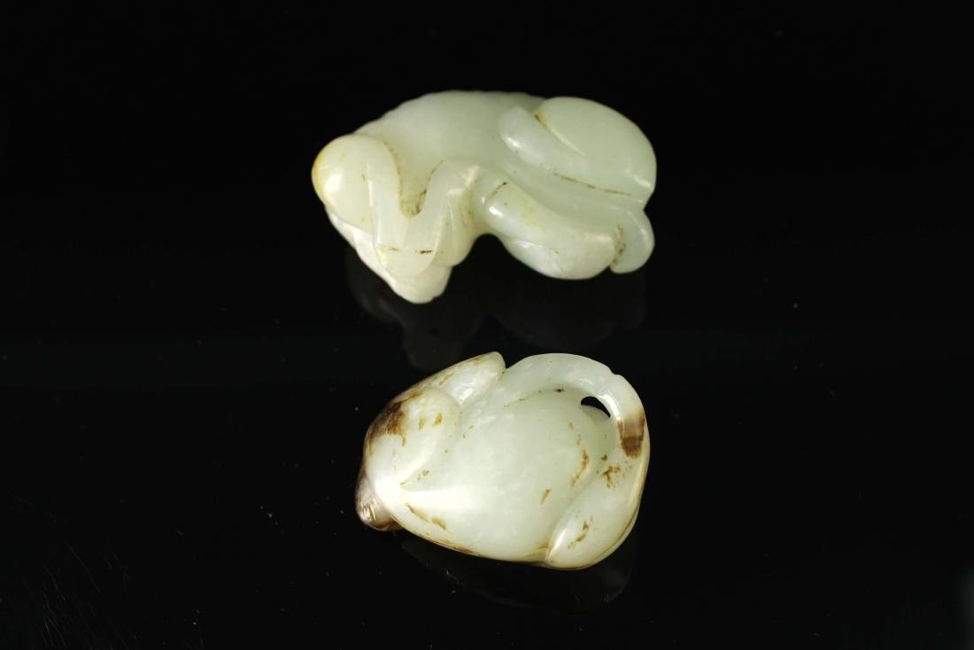 Two Pieces of Jade Carved Ganoderma&badger Pendant - 2