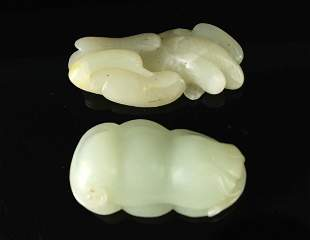 Two Pieces of Jade Carved Ganoderma&Pod Pendant
