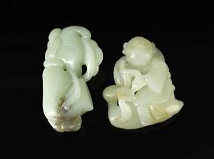 Two Pieces of Jade Carved Ladys&Kids Pendant
