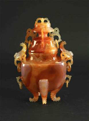 Red Agate Carved with Vase 1960s