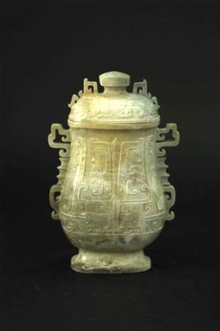 Jade Carved with Vase Qing Dynasty Period