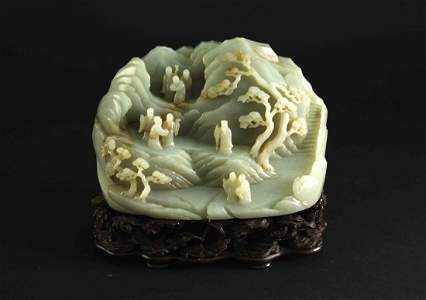 White Jade Carved with Landscape Drcoration Qing