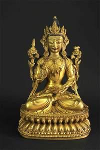 Copper Gilt Manjushri Statue Ming yongle Mark