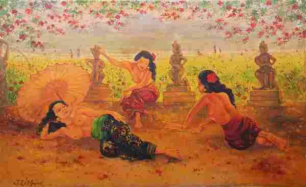 Adrien Jean Le Mayeur De Merpres, Garden Ladies, Oil on