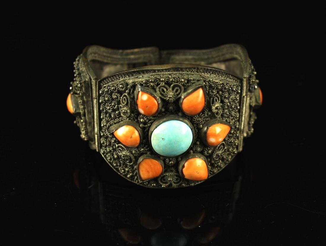 Silver Inlay with Coral and Turquoise Bracelate Late
