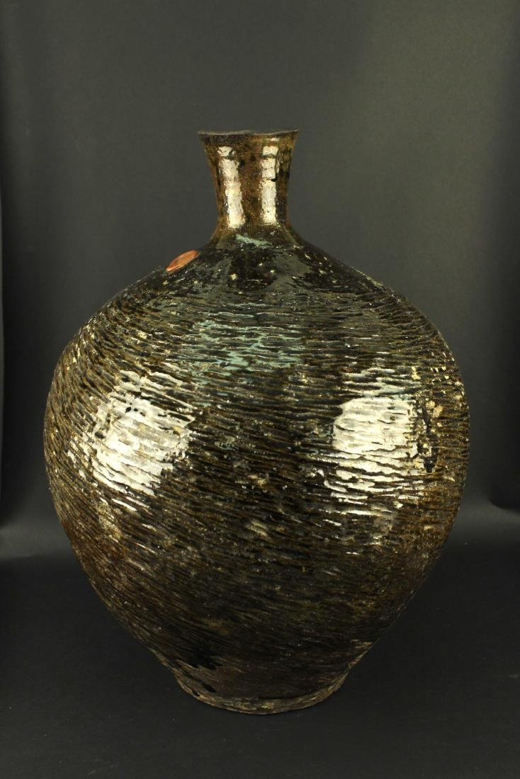 Antique Brown Pottery Water Jug