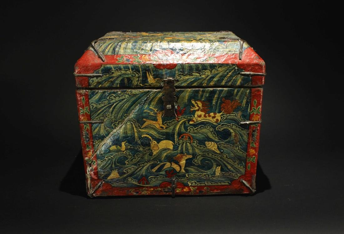 Leather Bookcase Qing Dynasty Period