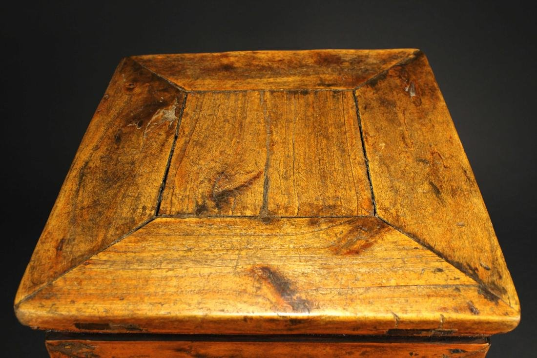 Antique Wooden Small Square Stool - 3