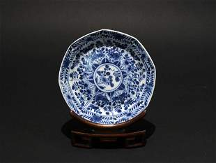 Blue and White Dish Qing Dynasty Kangxi Period