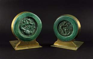 Pair of Bronze Inlay with Green Glaze Tile Ming Book